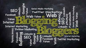 Word cloud about blogging and bloggers