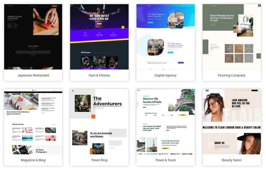Selection of some Elementor WordPress website templates
