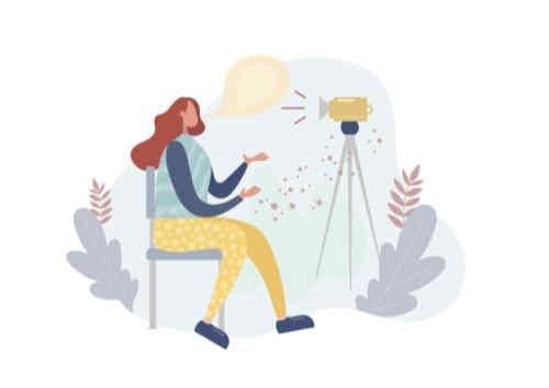 Girl shooting video for blog post