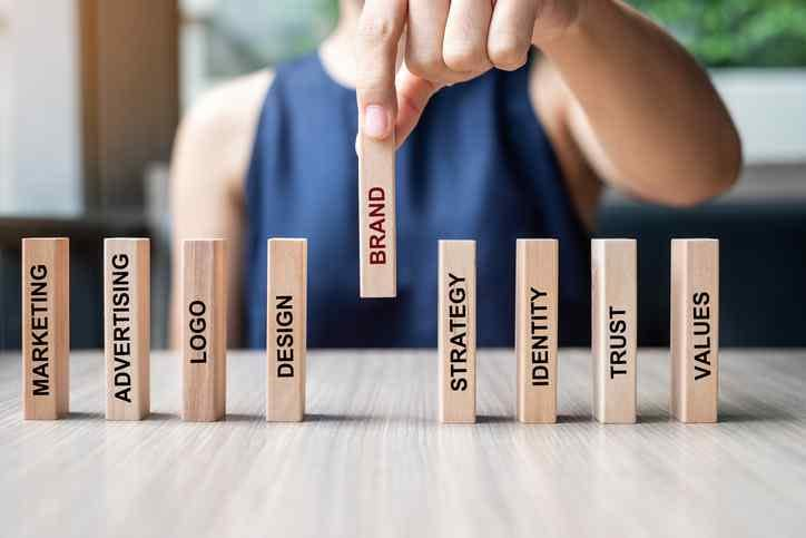 Businesswoman placing wooden Dominoes with BRAND text, and Marketing, Advertising, Strategy, Identity, Trust, Values & more.