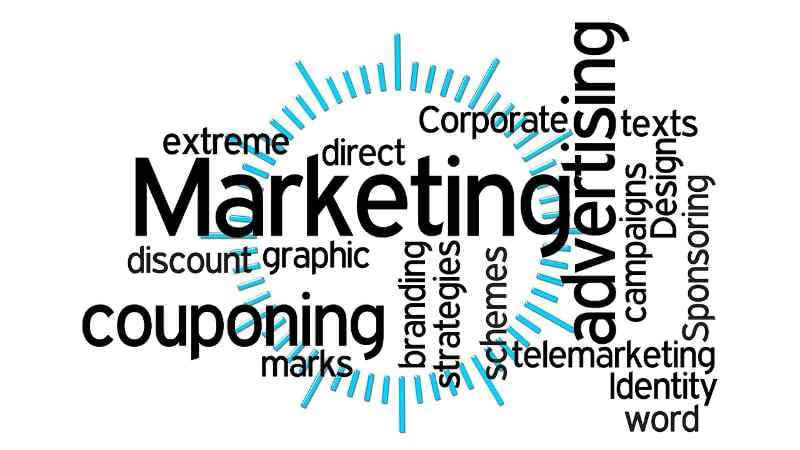 A word cloud of outbound marketing terminologies