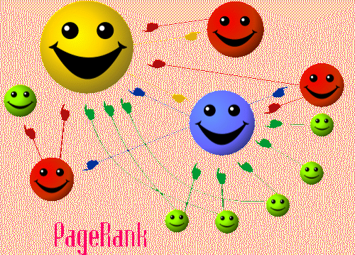 Smiling faces pointing to each other with multiple vectors illustrating how seo citations work