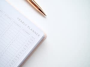 Yearly planner with a pen - make monthly payments to buy a website