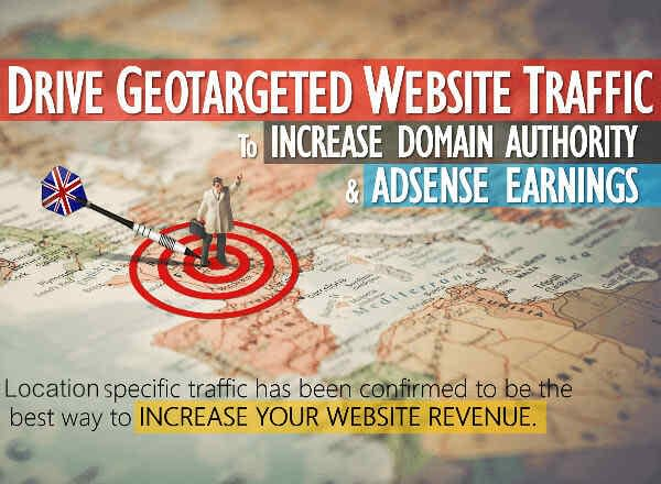 Map with a bullseye with a dart in it, reading geotargeting website traffic