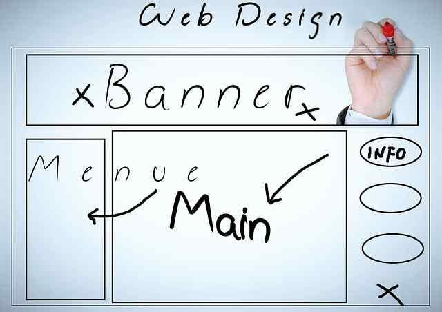 Website design wireframe choices on a markup board