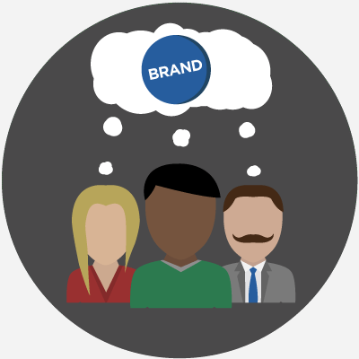 Cartoon with three people thinking about a brand