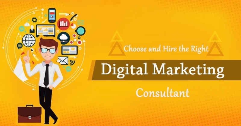 "Cartoon man with a cloud of apps around him and the words, ""Choose & hire the right digital marketing consultant."""