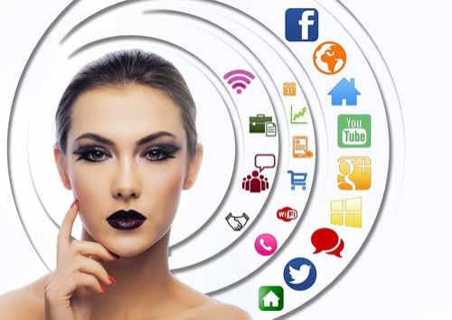 Thinking woman surrounded by social media app icons