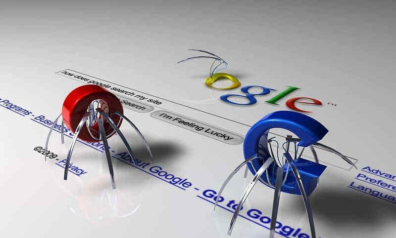 Little Google robots crawling on a website page