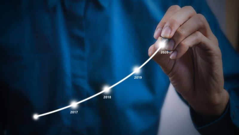 Graph showing business growth through more website traffic